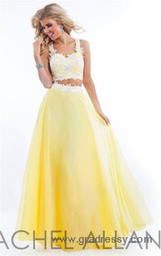 Long Yellow Two piece Lace Prom Dresses By Rachel Allan 6832
