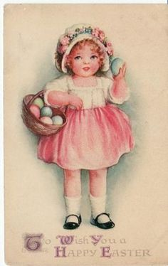 EASTER GIRL w EGG BASKET unsigned CLAPSADDLE postcard (03/09/2008)