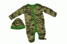 John Deere 2 Piece Sleeper and Hat Set Camo Green Month) John Deere Baby, Blanket Sleeper, Camo, Onesies, Infant, Pajama Pants, Swimwear, Baby Boys, Outfits