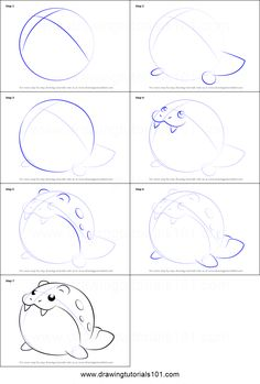 How to Draw Spheal from Pokemon step by step printable drawing sheet to print. Learn How to Draw Spheal from Pokemon Art Drawings For Kids, Doodle Drawings, Easy Drawings, Easy Pokemon Drawings, How To Draw Pokemon, Pokemon Painting, Rendering Drawing, Anime Lineart, Planner Doodles