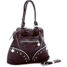 Soft Fashion Stone-Washed Hobo Handbag w/ Studs and Grommet Accents