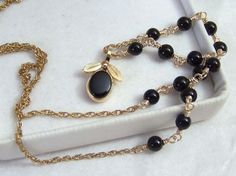 Onyx & Gold Filled Necklace Authentic Vintage by ExquisiteStudios