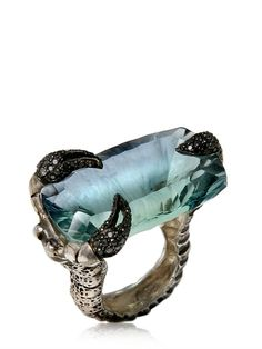 Aquamarine claw ring.