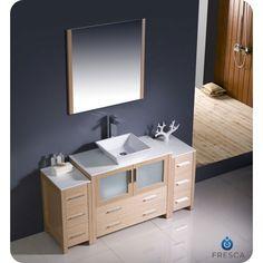 Photo Of Fresca Torino Light Oak Modern Bathroom Vanity Side Cabinets u Vessel Sink
