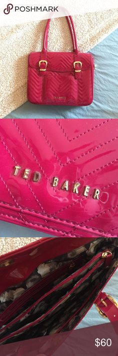 Ted Baker London red quilted patent leather bag Ted Baker London red/pink quilted patent leather computer bag/purse with gold detailing and zippers. This bag is incredibly versatile and features a gold zip that allows it to expand. Interior is black and white patterned silk with a cushioned pocket for a laptop. Ted Baker London Bags Laptop Bags