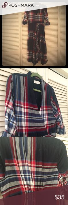 Isabella Sinclair plaid dress Plaid dress with asymmetrical hem and zipper styling.  Does have patch of elastic at the waist in the back to ensure a nice fit!  Very comfortable with rollable sleeves and v neck line Anthropologie Dresses Maxi