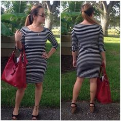 Tunic dress Black & white stripe tunic dress with 3/4 tab sleeves. Price is firm unless bundled❗️ Dresses