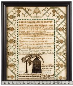 Antique Sampler, by Hepzibah Harrington, MA, AAAWT.  Love the tree!