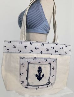 Handmade Elegant Beach Theme Bag | Nautical Extra Large Bag | Couture & Accessories