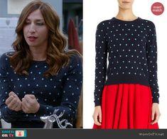 Gina's blue polka dot sweater on Brooklyn Nine-Nine.  Outfit Details: http://wornontv.net/41688/ #Brooklyn99