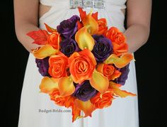 Plum and Orange wedding Bouquet with fall leaves