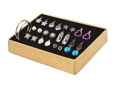 """Estuche de aretes 12 Gems x 12  En plateado, dorado, con cuentas, cristales y perlas de plástico. Diámetro argollas: 3.5 cm / 1.4"""". #PrimerasVecesbyCyZone"""