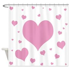 Pink Hearts Shower Curtain  cafepress Pink Hearts cd00b54fb