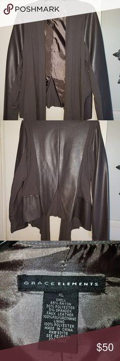 🍃Grace elements faux leather jacket/blazer 🍃Grace elements beautiful grey blazer  worn once in excellent condition! 🌹 Grace Elements Jackets & Coats Blazers