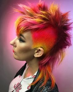 is the artist… Pulp Riot is the paint…. Girl Mohawk, Short Mohawk, Short Punk Hair, Edgy Hair, Short Hair Cuts, Short Hair Styles, Mullet Hairstyle, Mohawk Hairstyles, Creative Hair Color