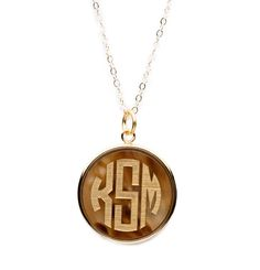 Acrylic Vineyard Round Monogram Pendant on Apex Chain at Moon and Lola
