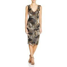 Alice + Olivia Perla Beaded Camo Sheath ($698) ❤ liked on Polyvore featuring dresses, gold multi, camouflage dresses, alice + olivia, sheath dress, brown dress and camoflage dresses