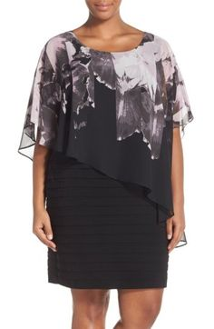 Free shipping and returns on Adrianna Papell Print Capelet Banded Jersey Dress (Plus Size) at Nordstrom.com. Detailed with a dramatic border print, an asymmetrical overlay of floaty chiffon makes an elegant capelet over a sleek jersey dress banded with topstitched shutter pleats.