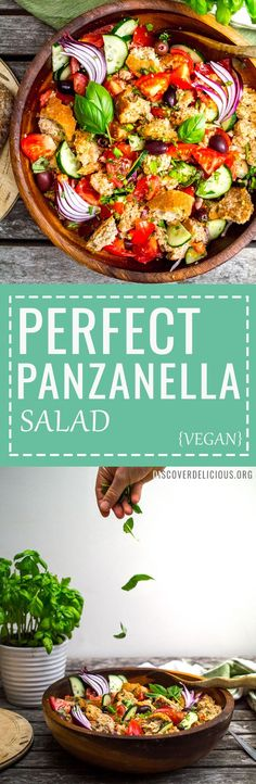 Panzanella Salad Recipe - healthy Italian summer tomato & bread salad - completely vegan! |www.discoverdelicious.org