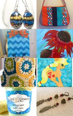 Orange and Blue All Over by Susan Kaur on Etsy--Pinned with TreasuryPin.com