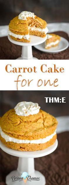 Carrot Cake for One - a totally acceptable breakfast, snack, or dessert!  THM:E, low fat, sugar free, nut free with gluten free option (the cake itself has a dairy free option)