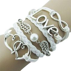Susenstone Style Jewelry fashion Leather Cute Infinity Charm Bracelet -- For more information, visit image link.