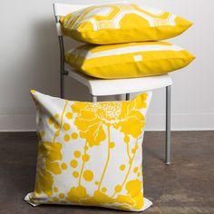 Surya Spotted Floral Gold and Ivory Pillow @Zinc_door #zincdoor #yellow #pillow #modern