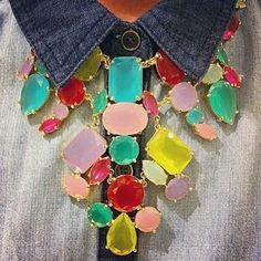 Add a statement necklace to a neutral outfit for a pop of Spring color.