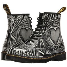 Dr. Martens 1460 (Egret Playing Card Print Backhand) Lace-up Boots ($145) ❤ liked on Polyvore featuring shoes, boots, ankle boots, bootie boots, metallic ankle boots, short boots and leather lace up bootie