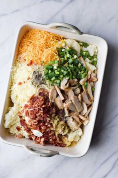 Loaded cauliflower & chicken casserole - Make Ahead Meals - Chicken Recipes Low Carb Recipes, Diet Recipes, Chicken Recipes, Cooking Recipes, Healthy Recipes, Recipies, Recipes With Shredded Chicken, Healthy Casserole Recipes, Low Carb