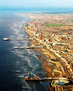Aerial view of Blackpool, Lancashire, North West, England. Places Around The World, The Places Youll Go, Places To See, Around The Worlds, Blackpool England, Kingdom Of Great Britain, England And Scotland, England Uk, Places To Travel
