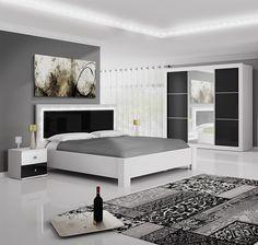 Chambres blanches noires sur pinterest chambre de damas chambre scandinave et couvre lit noir for Chambre adulte complete blanche