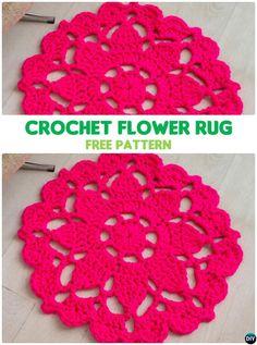 DIY Crochet Flower Rug Free Pattern-10 Handmade Crochet Area Rug Ideas