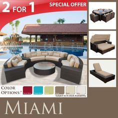 (CLICK IMAGE TWICE FOR UPDATED PRICING AND INFO) #home #patio #sofa #outdoor #outdoorsofa #patiosofa #patiosofaset #loungesets #outdoorpatiosofasets  see more patio sofa at http://zpatiofurniture.com/category/patio-furniture-categories/patio-sofa/ - MIAMI OUTDOOR WICKER PATIO SET MARS DINING SET MAUI SUN BED KOKOMO CHAISE SOFA SECTIONAL ALL WEATHER « zPatioFurniture.com