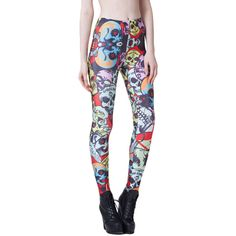 Black Punk Womens Colorful Skull Printed Skeleton Leggings ($12) ❤ liked on Polyvore