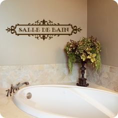 Salle De Bain (French for Bathroom) Ornately Framed Style (wall decal from WallWritten.com).