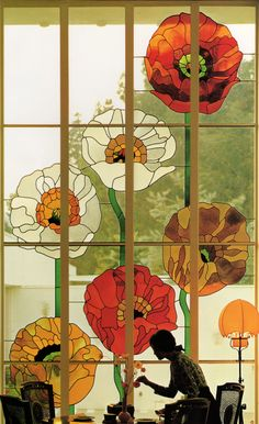 Awesome 70s - 80s floral stained glass window from Times California Home Book| Carolyn S. Murray ©1982