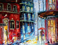 Print Description : Karen's Fine Art – Gallery Represented Modern Impressionism Title: New Orleans French Quarter Rainy Jazz Print    Fine Art