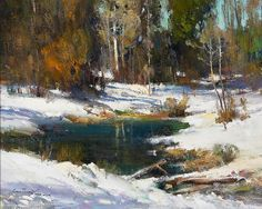 Cyrus Asfray winter snowscape oil painting