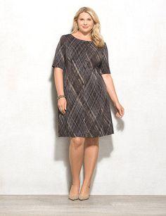Plus Size Geometric Print Flared Dress