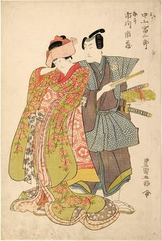 Toyokuni I, Double Kabuki Portrait-Utagawa Toyokuni I, kabuki, japanese prints, ukiyo-e woodblock print