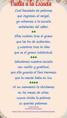 Vuelta a la Escuela,, Que hermosos recuerdos!!!!Virgilio Davila Poeta Puertorriqueno