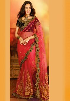 Old Rose Net Saree with Blouse: SXN28