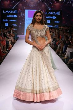 Anushree Reddy White Embroidered #Lehenga With Nude Embroidered #Blouse At Lakme Fashion Week 2015.