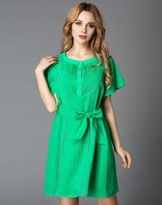 VIPme (VIPSHOP Global) - GUSTAVO ARANGO Green Folds A-Line Plain Dress - AdoreWe.com