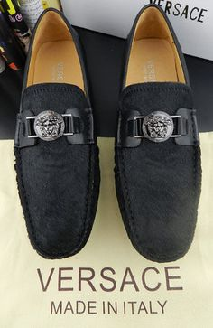 VERSACE men's fashion America horsehair cowhide Neri Peas shoes