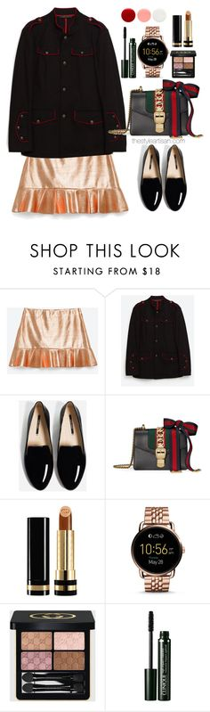 """""""Zara"""" by thestyleartisan ❤ liked on Polyvore featuring Bajo, Gucci, FOSSIL, Clinique and Eve Snow"""