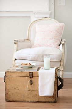 French Antique Wooden Chest from Dreamy Whites.
