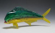 Dorado (Mahi-Mahi, Dolphin) - Hand-Blown Glass Sculpture (Available in Small, Medium, Large Sizes)