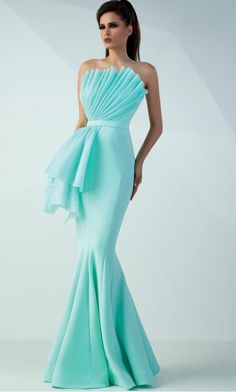 Pleated Strapless Neckline Mermaid Gown by promdresses eveningdressesStunning pleats form a strapless neckline on this exquisite design by MNM Couture Below the belted waist, a striking extension flows from the hip and yourMNM Couture - 2374 Embroide Evening Dresses, Prom Dresses, Wedding Dresses, Bridesmaid Dresses, Mermaid Gown, Designer Gowns, African Fashion Dresses, Couture Dresses, Beautiful Gowns